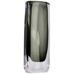 Tall 1950s Sommerso 'Dusk' Vase Signed by Nils Landberg for Orrefors Glass