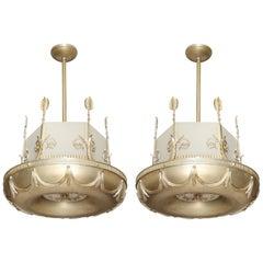 Pair of Vintage Art Deco Torus Shaped Chandeliers
