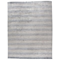 Beige and Steel Contemporary Grid Pattern Rug
