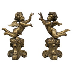 Antique Pair of Gilt Carved Wood Putti Figures