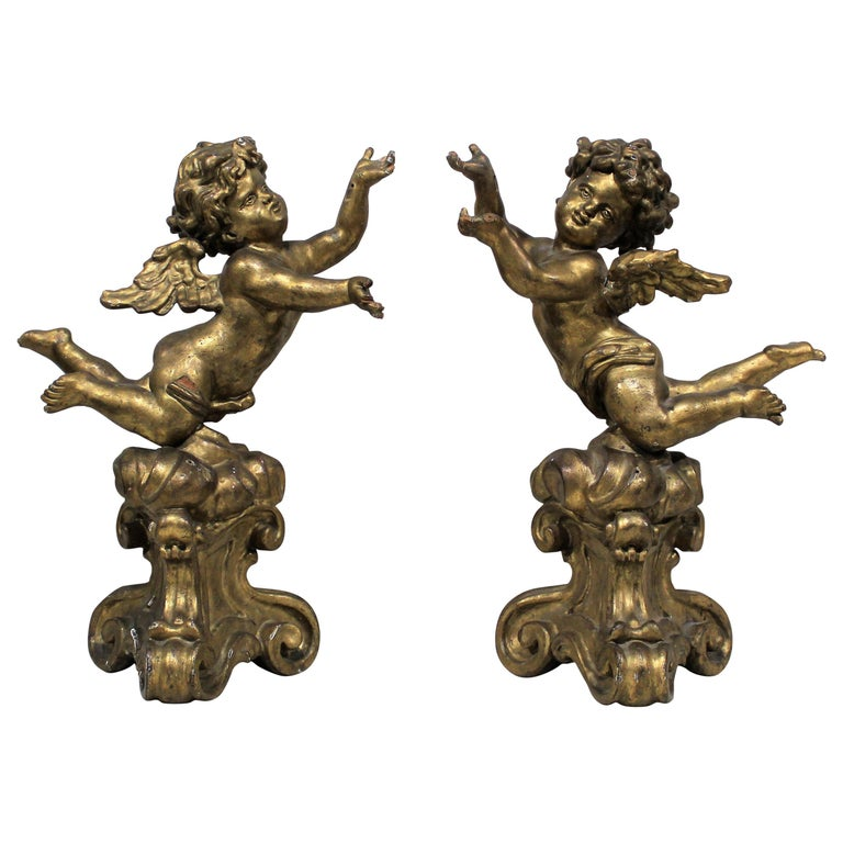Antique Pair of Gilt Carved Wood Putti Figures For Sale