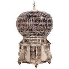 Early 20th Century French Carved and Painted Air Balloon Shape Birdcage