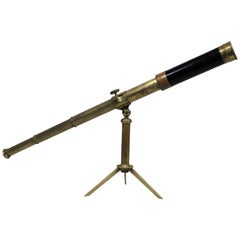 19th Century English Portable Travelling Telescope with Box