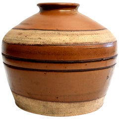 Large Antique Brown Jar with Black Rings, Handmade Chinese Pottery