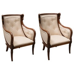 19th Century Pair of Children's Directoire Style Mahogany Bergere Chairs