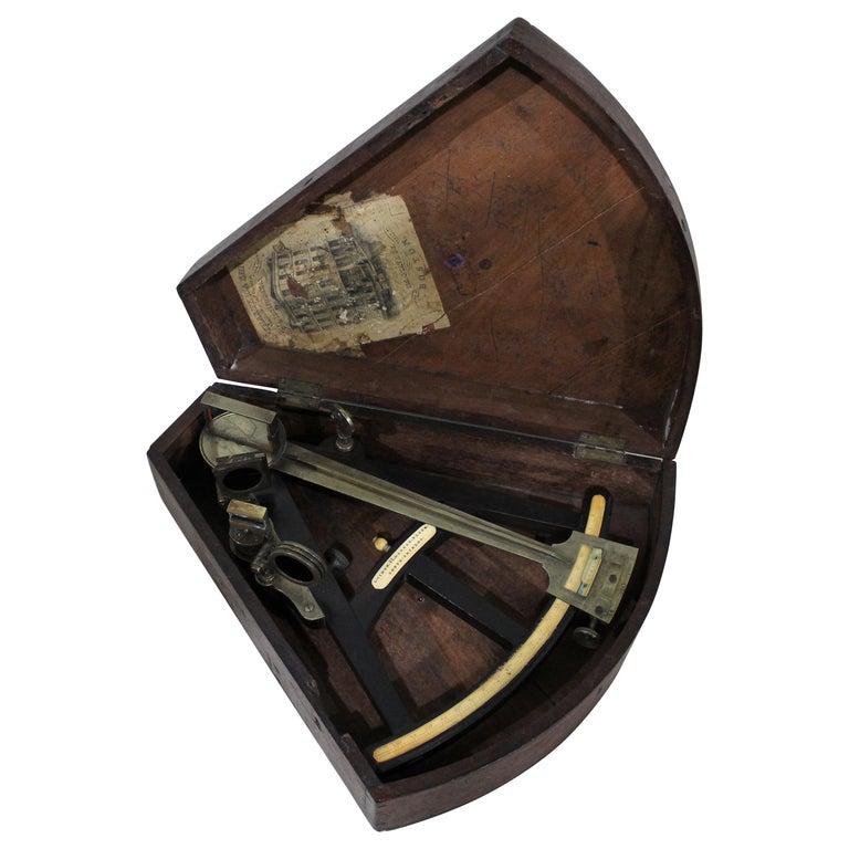 19th Century English Marine Surveyors Brass Sextant For Sale