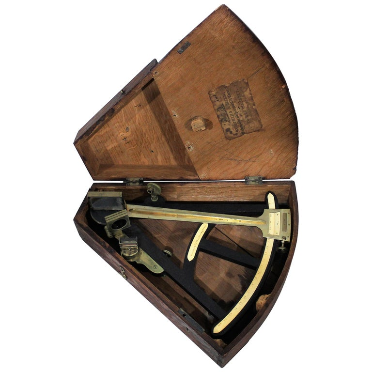 19th Century English Marine Surveyors Brass Sextant by Watkins & Hill For Sale