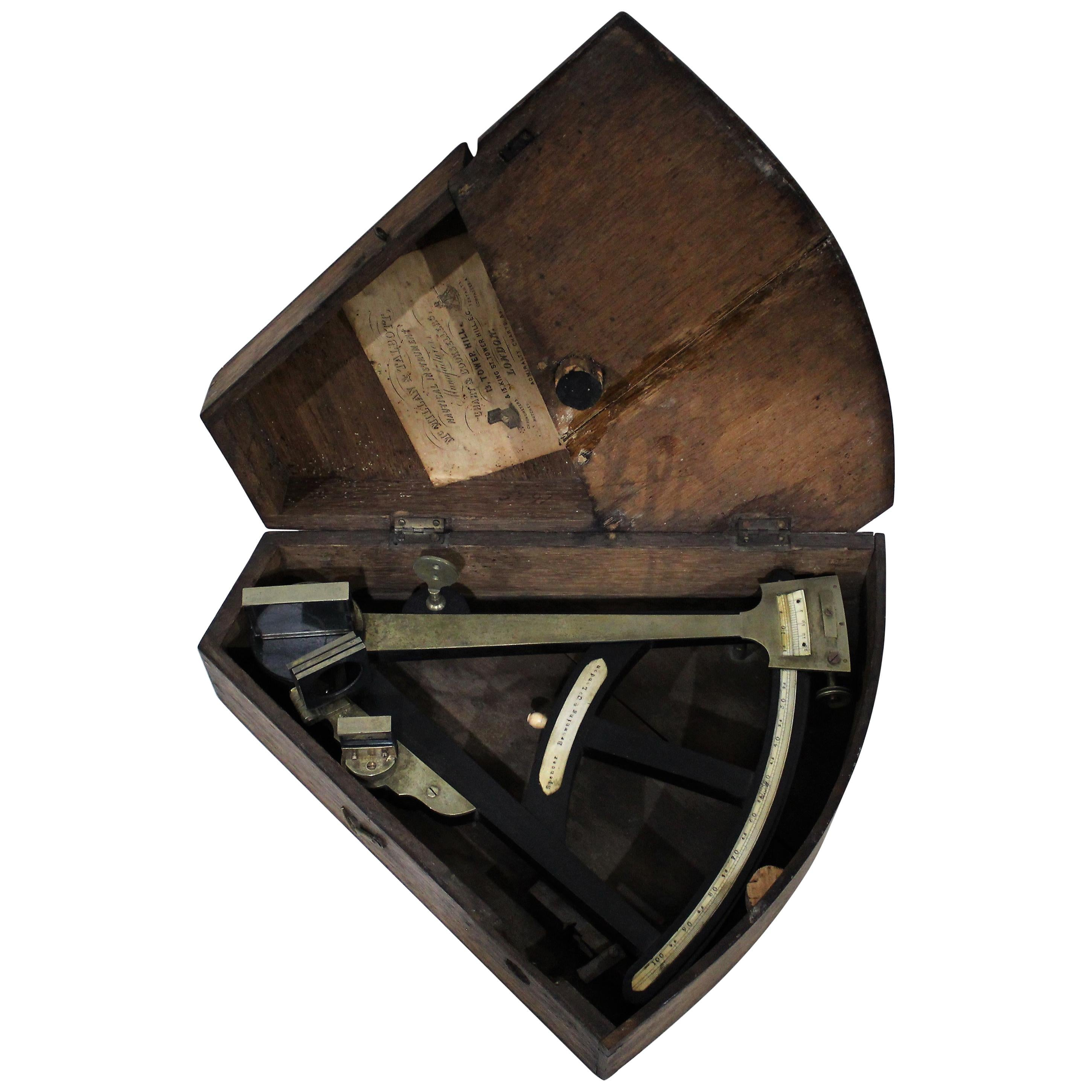 19th Century English Marine Surveyors Brass Sextant by Spencer Browning & Co.