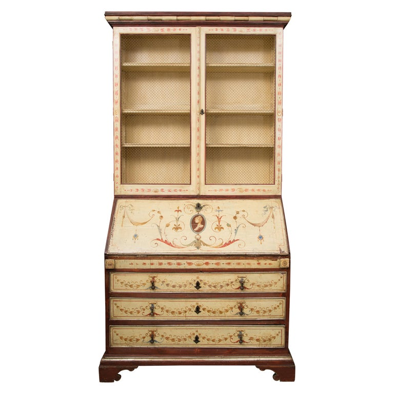 Venetian Painted Secretary Bureau Bookcase For Sale