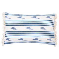 Schumacher Mark D. Sikes Santa Barbara Ikat Indigo Two-Sided Cotton Linen Pillow