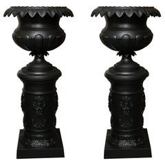Late 19th Century Pair of Victorian Cast Iron Urns on Pedestals