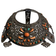 Mongolian Silver Crown Headdress with Inlaid Coral and Turquoise, 19th Century