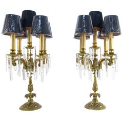 Pair of French Louis XVI Style Bronze and Crystal Candelabra Table Lamps