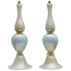 Pair of Murano Glass Lamps Pearlescent Light Blue with Gold Flakes