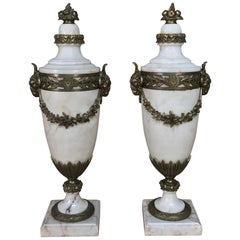 Pair of 19th Century French Louis XVI Marble Cassolettes Mantel Urns with Bronze