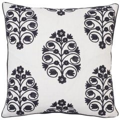 Schumacher Talitha Embroidery Blackwork Two-Sided Linen Pillow