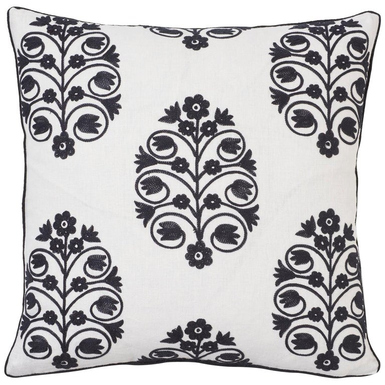 Schumacher Talitha Embroidery Blackwork Two-Sided Linen Pillow For Sale