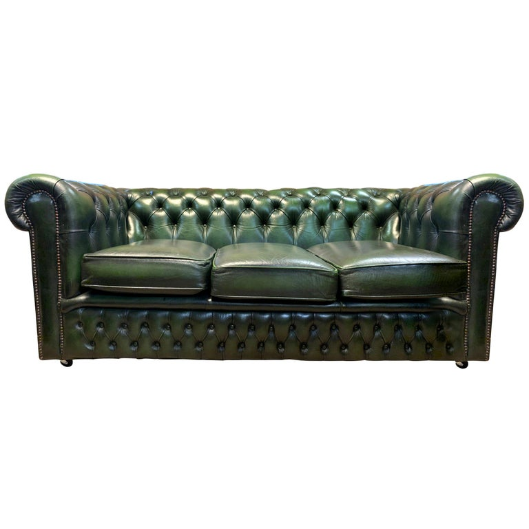 Midcentury English Emerald Green Chesterfield Sofa For Sale