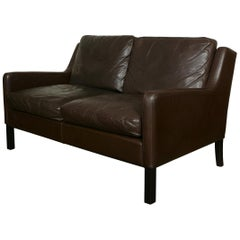Danish Midcentury Leather Settee Sofa