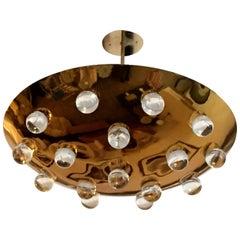 Golden French 1960s Pendant Flush Light