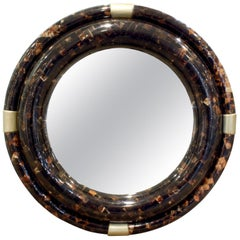 Karl Springer Large Wall Hanging Mirror in Tessellated Horn, 1970s