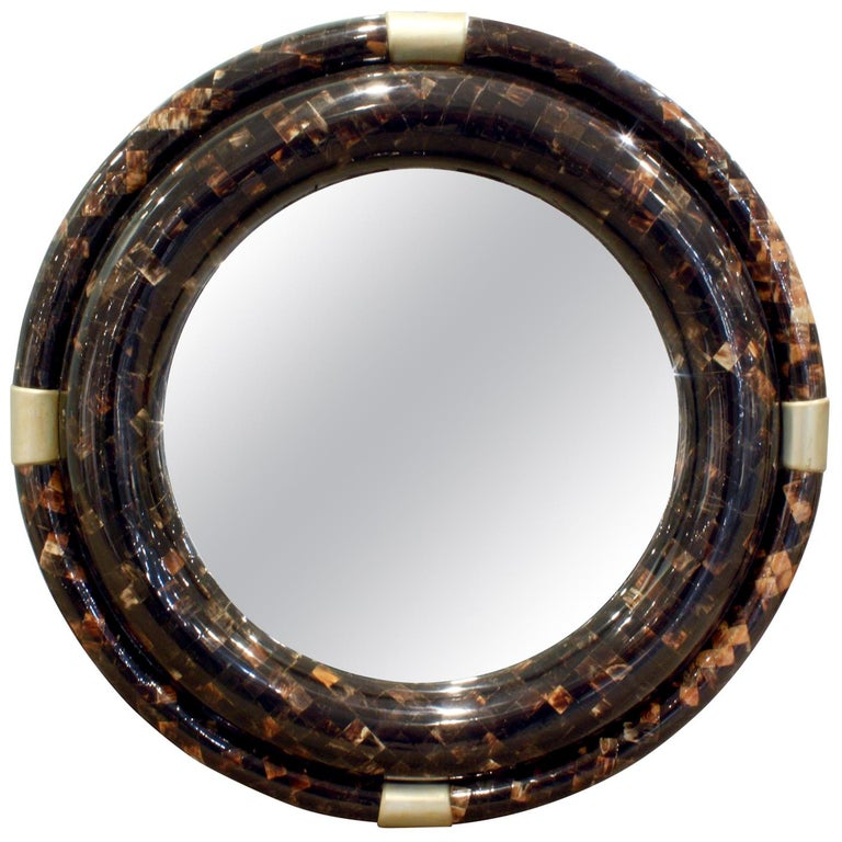 Karl Springer Large Wall Hanging Mirror in Tessellated Horn, 1970s For Sale