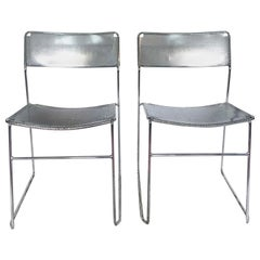 Vintage Perforated Chrome & Steel Chairs by Niels Jorgen Haugesen for Magis, Set