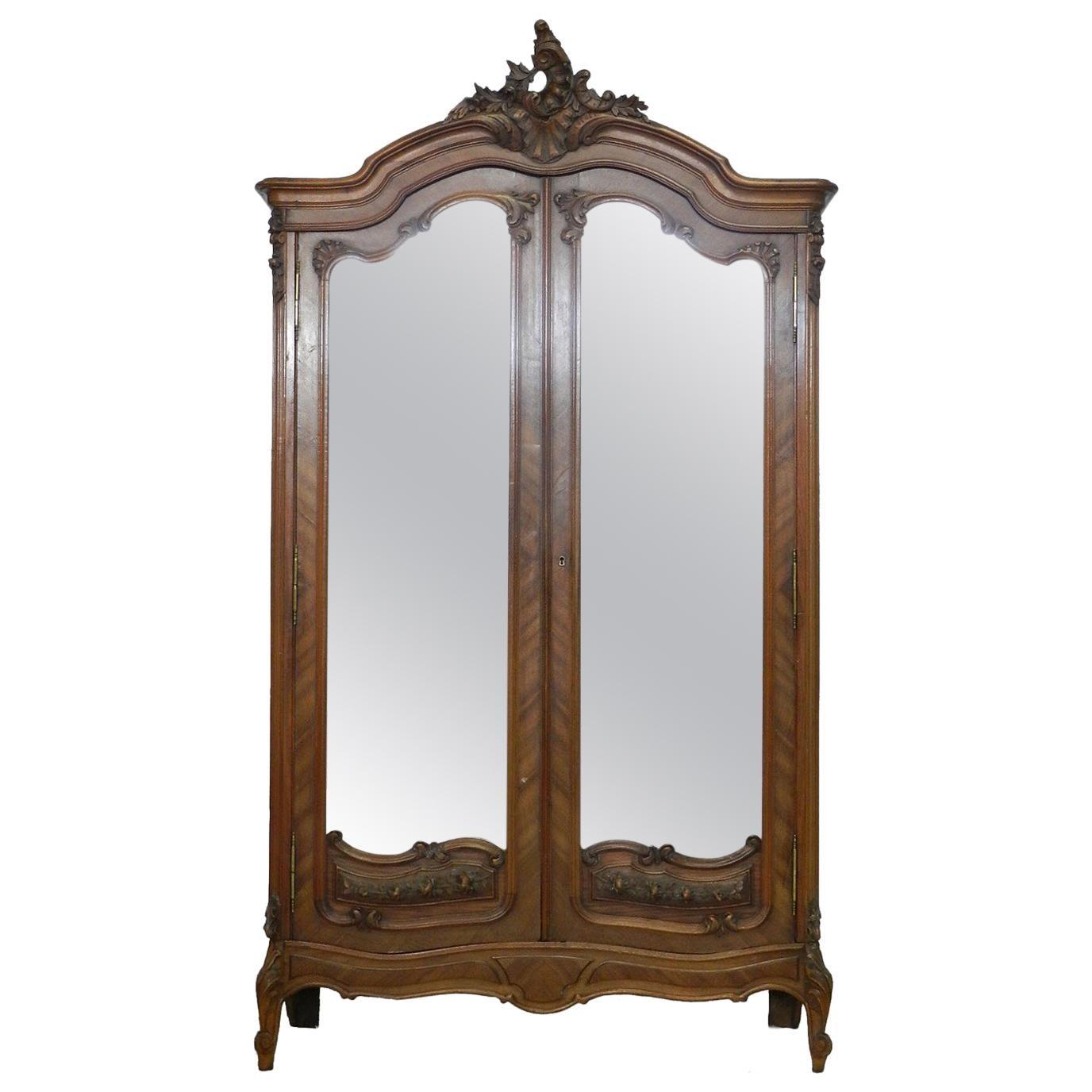 Antique French Louis Xv Armoire Wardrobe Walnut Triple Beveled Mirrors Shelves Furniture