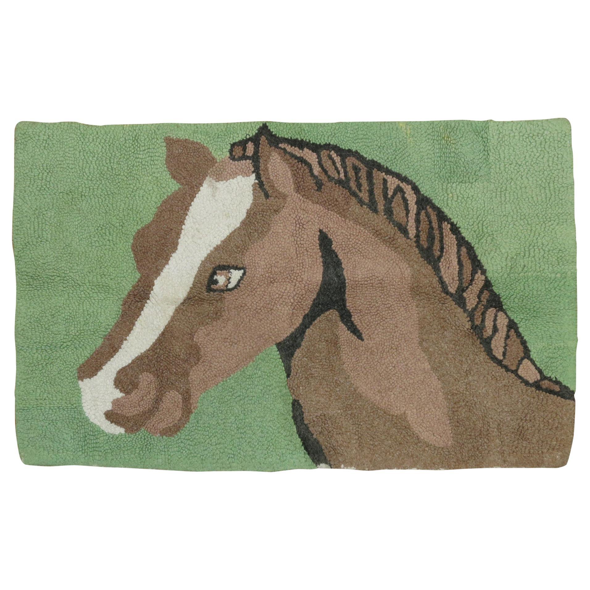 American Hooked Horse Rug