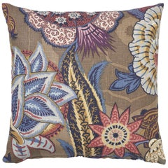 Schumacher Zanzibar Linen Print Cerulean Two-Sided Floral Pillow