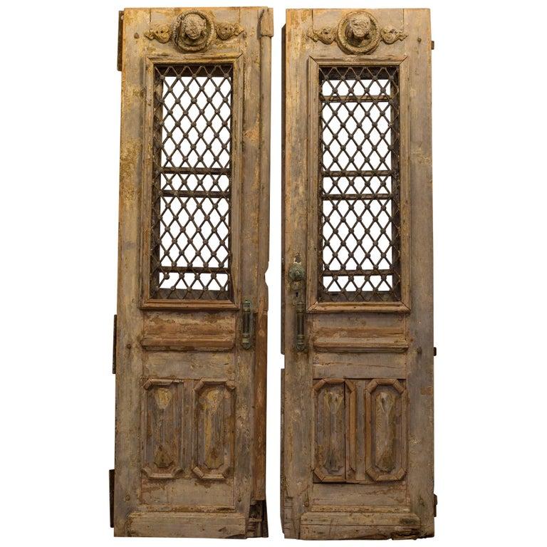 Antique 17th Century Wood and Bronze Italian Doors, circa 1600s For Sale