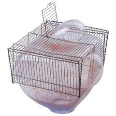 Baby Bird Cage by Lorenzo Passi Glass and Metal Art