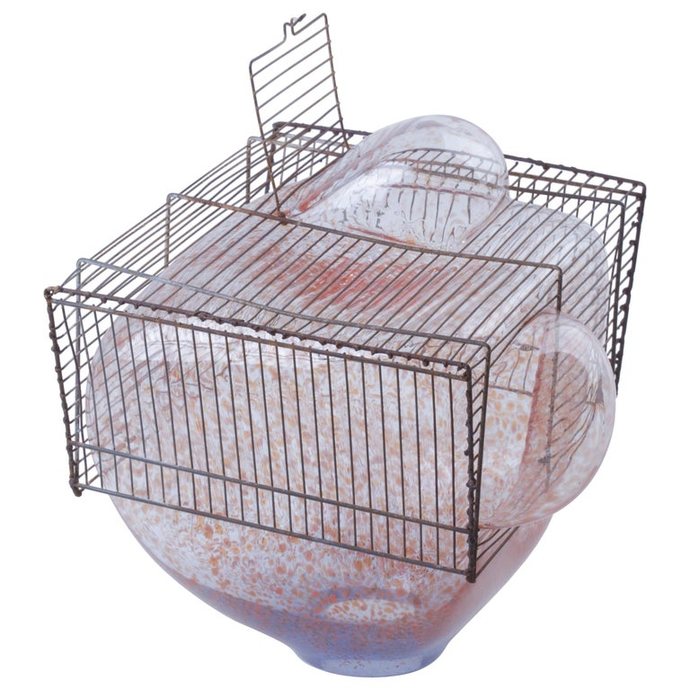 Baby Bird Cage by Lorenzo Passi Glass and Metal Art For Sale
