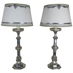 Pair of English Sheffield Silver Plated Lamps with Custom Parchment Shades