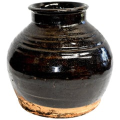 Large Chinese Antique Glazed Pottery Jar, Big Rings and Crackle
