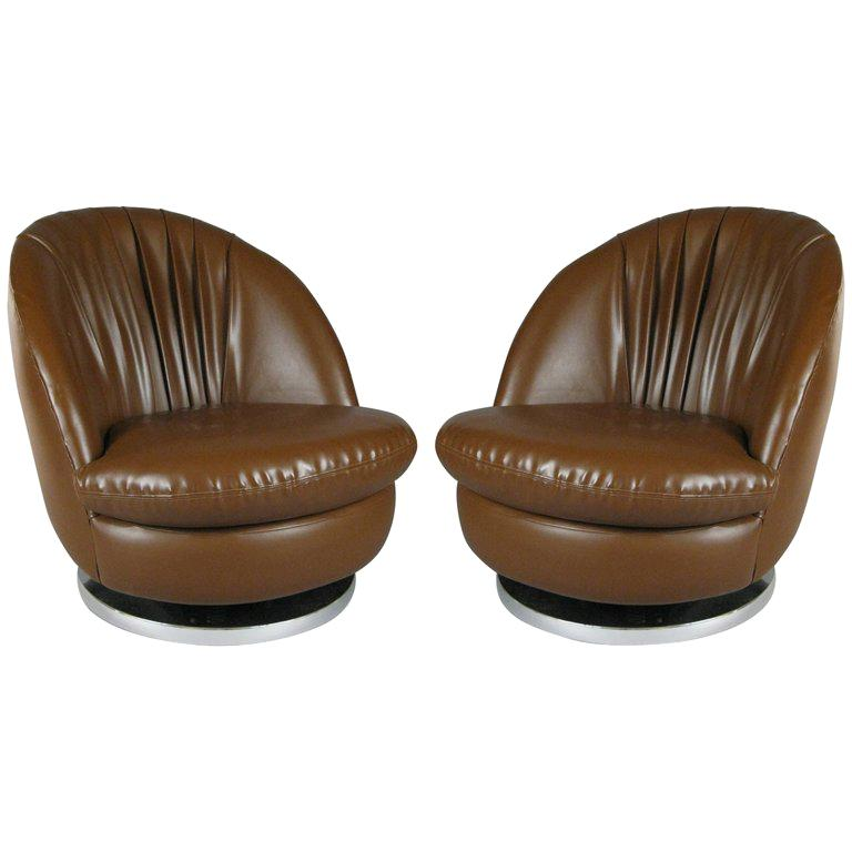 Pair of Milo Baughman Brown Tilt and Swivel Lounge Chairs