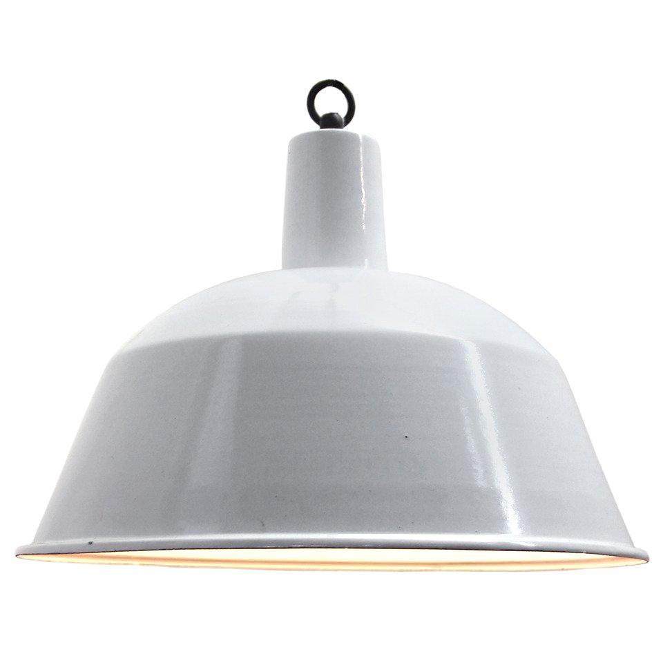 White Enamel Vintage Industrial Pendant Lights NOS
