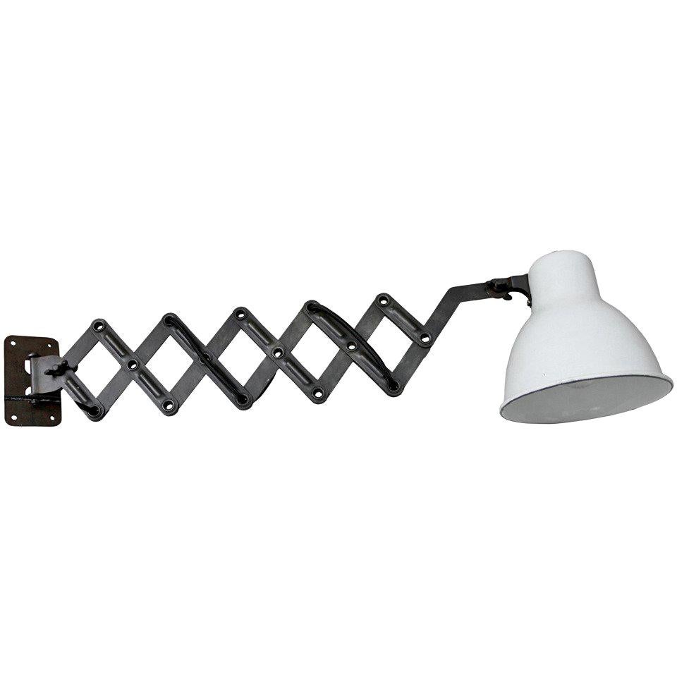 White Enamel Vintage Industrial Wall Scissor Lights