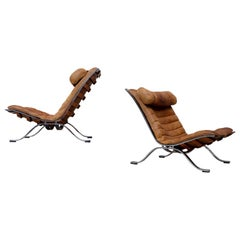 Arne Norell Ari Easy Chairs in Cognac Brown Leather, Sweden, 1960s