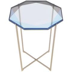 Gem Side Table, Blue, Brass, in Stock