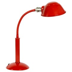1960s Gooseneck Desk Lamp Refinished in Fire Engine Red