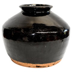 Large Chinese Antique Black Pottery Jar, Slanted Shoulders