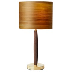 TELLIER Brushed Brass Table Lamp with Cypress Wood Shade