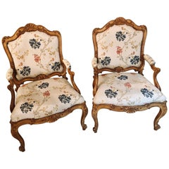 Pair of Fine Louis XV Style Armchairs in Fine Upholstery Custom Frames
