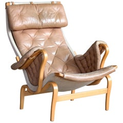Pernilla Lounge Chair in Camel Colored Tufted Leather by Bruno Mathsson for DUX