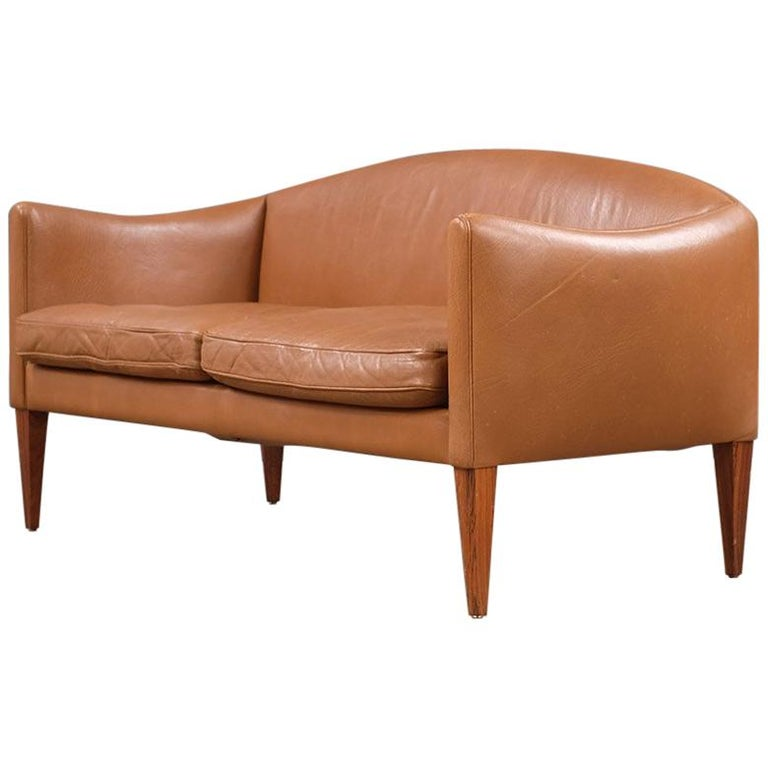 Illum Wikkelso Leather Loveseat Sofa For Sale
