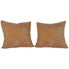 Pair of Orange Zebra Print Pillows