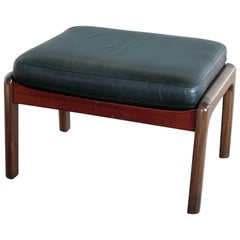 Midcentury Danish Ottoman in Leather and Mahogany by Ole Wanscher