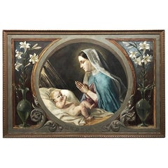 Antique Oil Painting on Canvas of Madonna and Child
