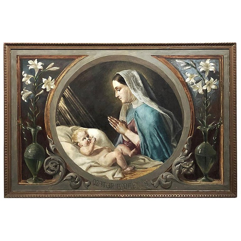 Antique Oil Painting on Canvas of Madonna and Child For Sale